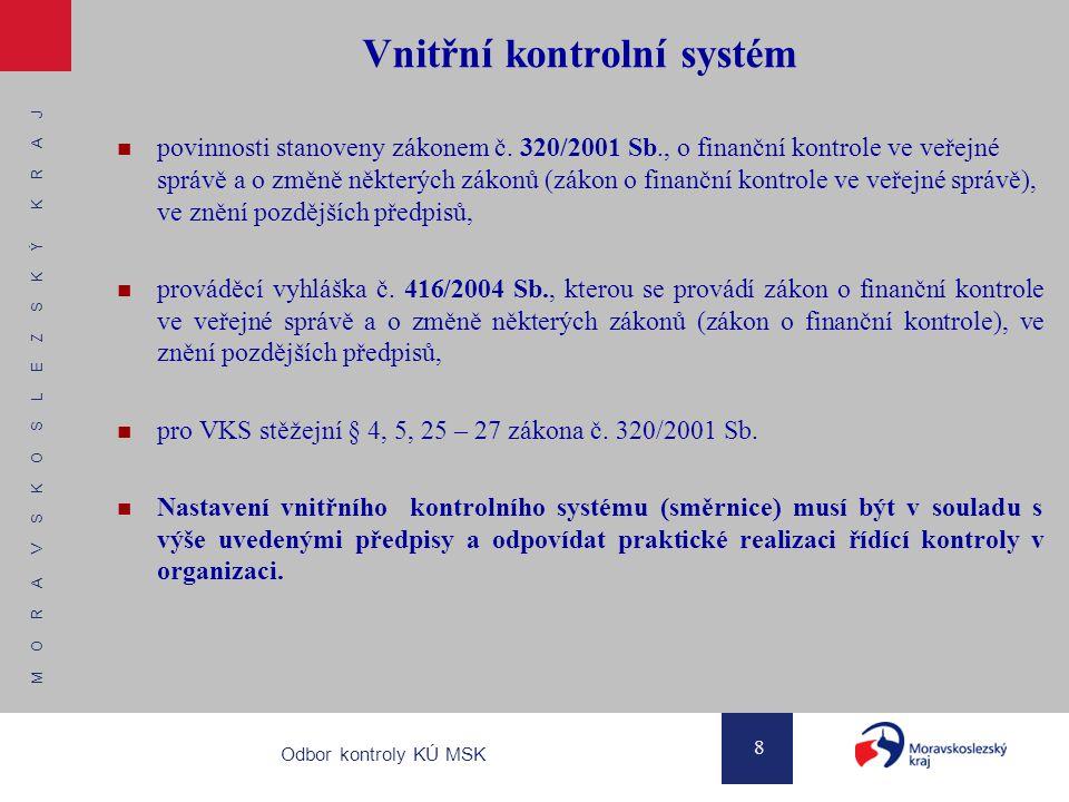 M O R A V S K O S L E Z S K Ý K R A J 9 Odbor kontroly KÚ MSK Vnitřní kontrolní systém Systém vnitřních předpisů (obecné shrnutí):  základním předpokladem je pravidelně aktualizovaná předpisová základna vymezující postupy řídící kontroly a odpovědnost zaměstnanců  s předpisovou základnou musí být zaměstnanci seznámeni  forma a způsob zařazení finanční kontroly v systému vnitřních předpisů příspěvkové organizace nejsou stanoveny