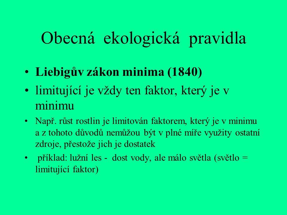 Obecná ekologická pravidla Liebigův zákon minima (1840) limitující je vždy ten faktor, který je v minimu Např.