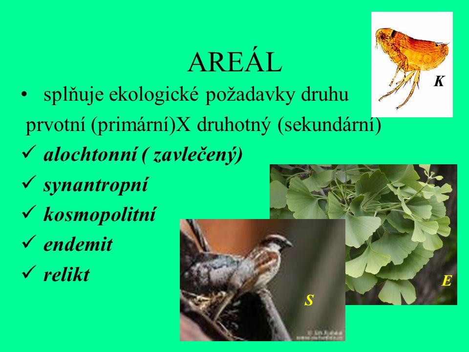 AREÁL splňuje ekologické požadavky druhu prvotní (primární)X druhotný (sekundární) alochtonní ( zavlečený) synantropní kosmopolitní endemit relikt S E K