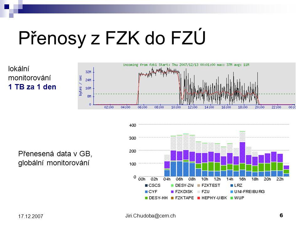 Jiri.Chudoba@cern.ch6 17.12.2007 Přenosy z FZK do FZÚ Přenesená data v GB, globální monitorování lokální monitorování 1 TB za 1 den