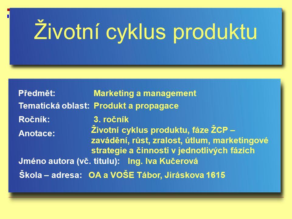 Životní cyklus produktu Jméno autora (vč. titulu): Škola – adresa: Ročník: Předmět: Anotace: 3. ročník Marketing a management Ing. Iva Kučerová OA a V