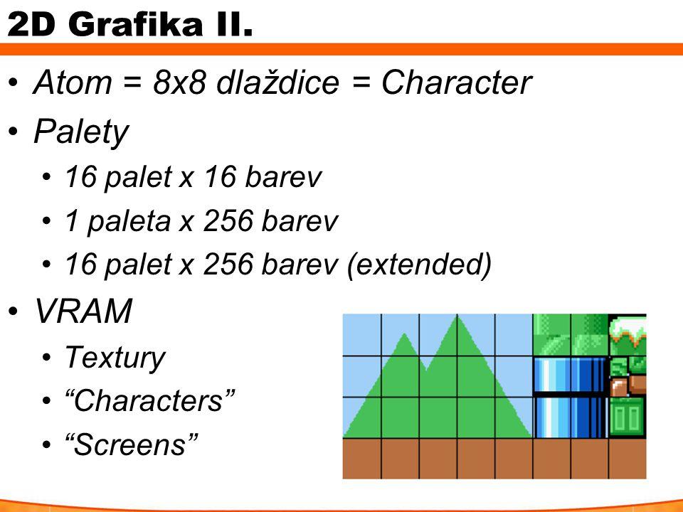 "2D Grafika II. Atom = 8x8 dlaždice = Character Palety 16 palet x 16 barev 1 paleta x 256 barev 16 palet x 256 barev (extended) VRAM Textury ""Character"