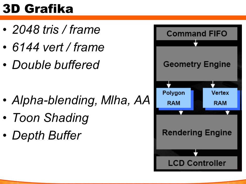 3D Grafika 2048 tris / frame 6144 vert / frame Double buffered Alpha-blending, Mlha, AA Toon Shading Depth Buffer