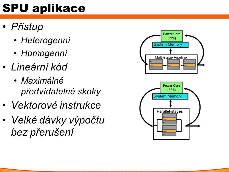 SPU aplikace Přistup Heterogenní Homogenní Lineární kód Maximálně předvídatelné skoky Vektorové instrukce Velké dávky výpočtu bez přerušení