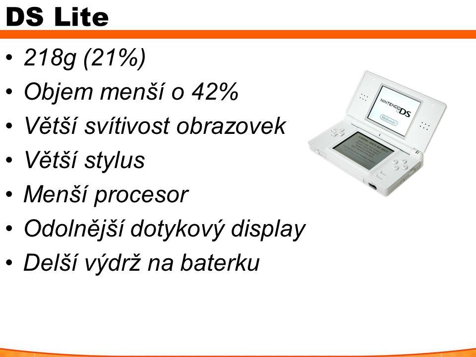 DS Lite 218g (21%) Objem menší o 42% Větší svítivost obrazovek Větší stylus Menší procesor Odolnější dotykový display Delší výdrž na baterku
