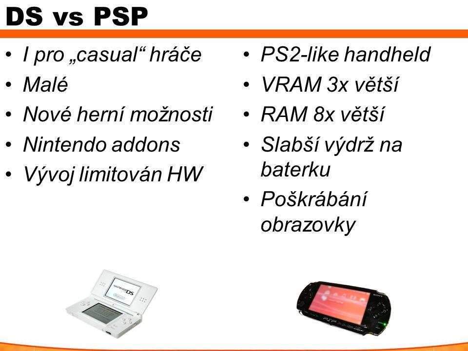"""DS vs PSP I pro """"casual"""" hráče Malé Nové herní možnosti Nintendo addons Vývoj limitován HW PS2-like handheld VRAM 3x větší RAM 8x větší Slabší výdrž n"""