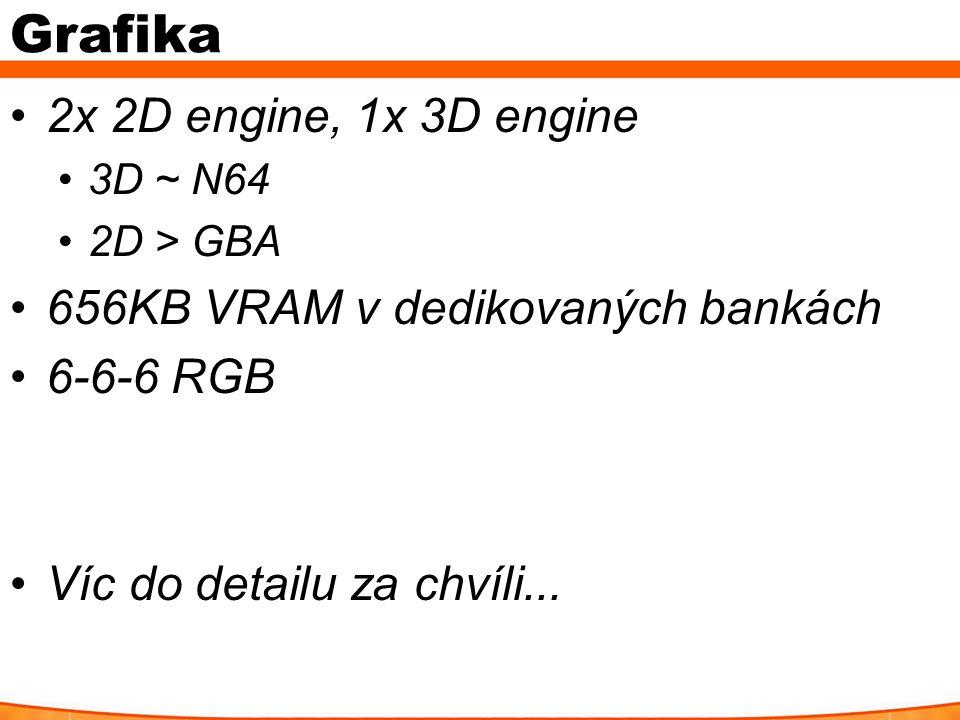 Grafika 2x 2D engine, 1x 3D engine 3D ~ N64 2D > GBA 656KB VRAM v dedikovaných bankách 6-6-6 RGB Víc do detailu za chvíli...
