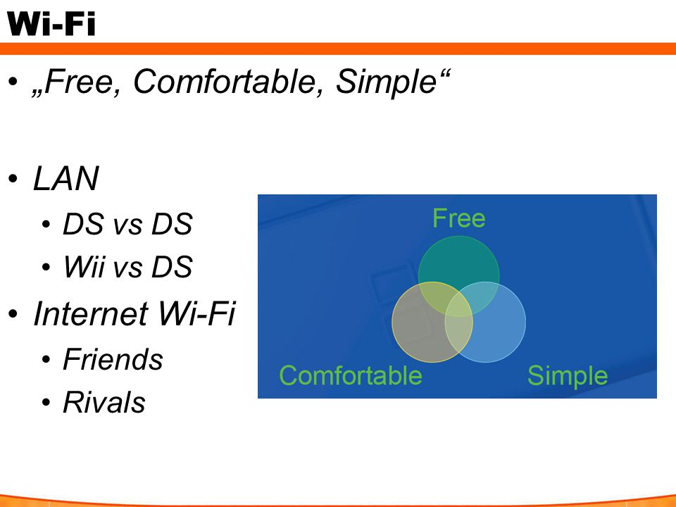 "Wi-Fi ""Free, Comfortable, Simple LAN DS vs DS Wii vs DS Internet Wi-Fi Friends Rivals"