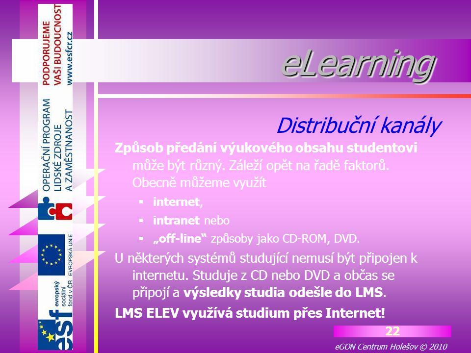 eGON Centrum Holešov © 2010 22 eLearningeLearning Způsob předání výukového obsahu studentovi může být různý. Záleží opět na řadě faktorů. Obecně můžem