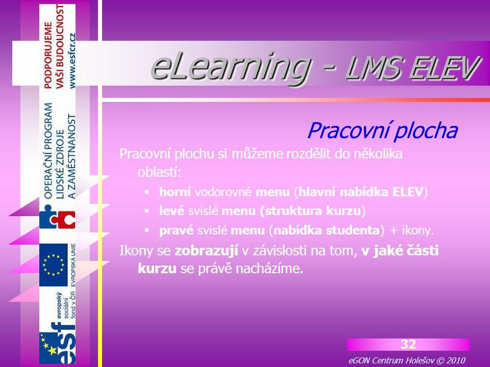 eGON Centrum Holešov © 2010 32 Pracovní plochu si můžeme rozdělit do několika oblastí:  horní vodorovné menu (hlavní nabídka ELEV)  levé svislé menu