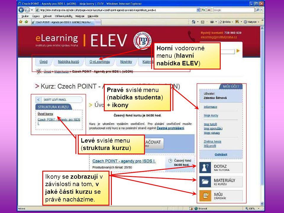 Horní vodorovné menu (hlavní nabídka ELEV) Levé svislé menu (struktura kurzu) Pravé svislé menu (nabídka studenta) + ikony Ikony se zobrazují v závisl