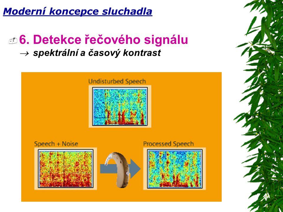  6. Detekce řečového signálu  spektrální a časový kontrast Moderní koncepce sluchadla