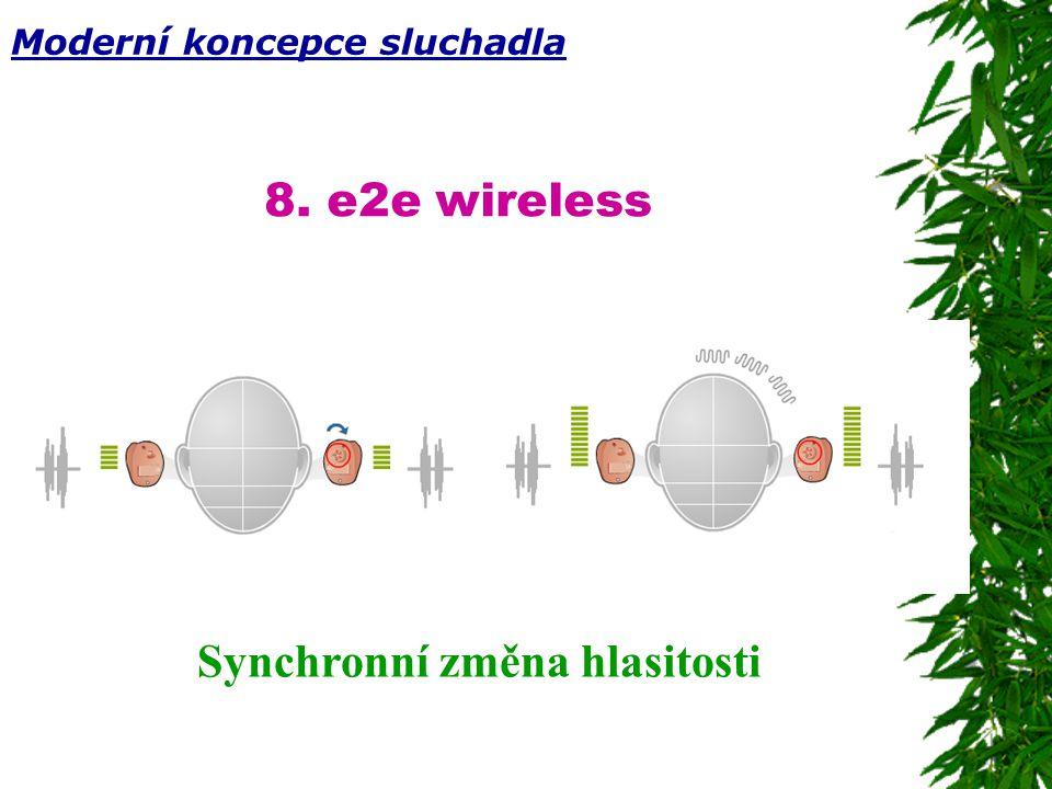 8. e2e wireless Synchronní změna hlasitosti Moderní koncepce sluchadla