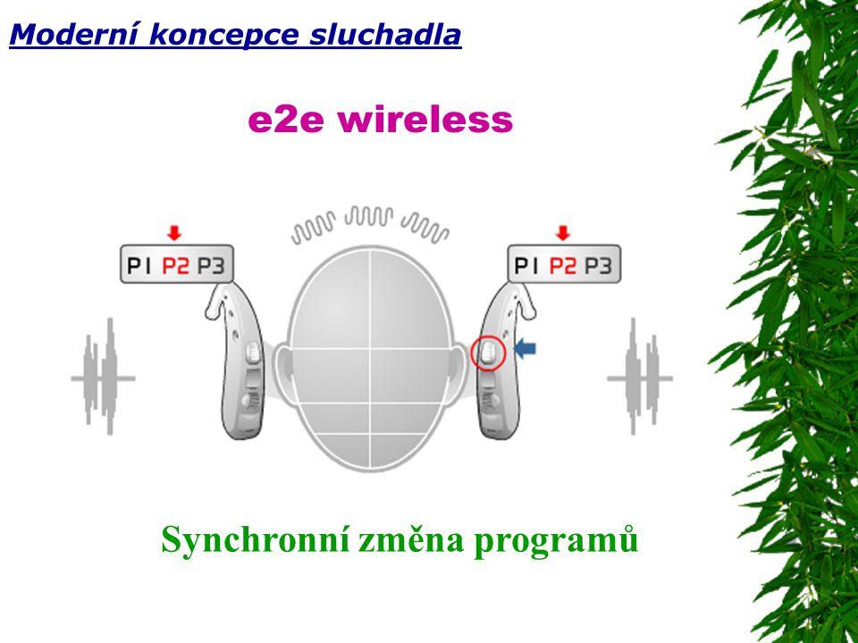 e2e wireless Synchronní změna programů Moderní koncepce sluchadla