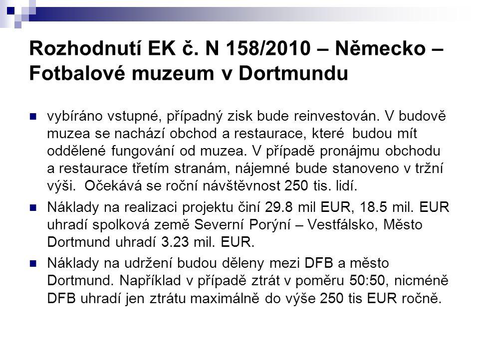 Rozhodnutí EK č. N 158/2010 – Německo – Fotbalové muzeum v Dortmundu vybíráno vstupné, případný zisk bude reinvestován. V budově muzea se nachází obch