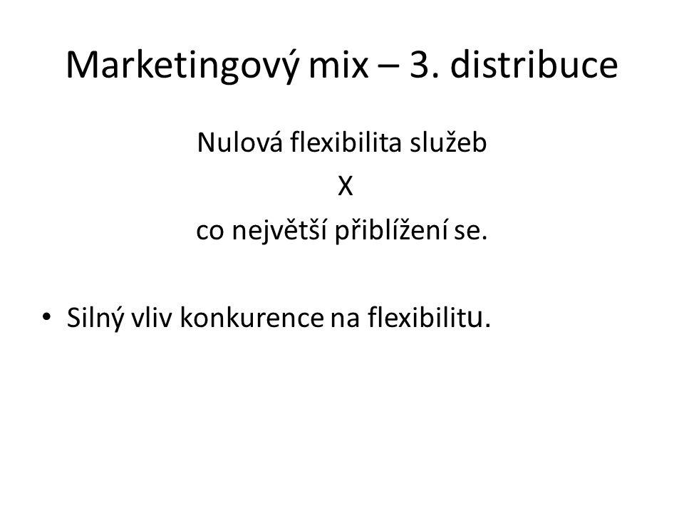 Marketingový mix – 3.distribuce Nulová flexibilita služeb X co největší přiblížení se.