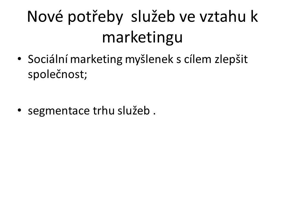 Nové potřeby služeb ve vztahu k marketingu Sociální marketing myšlenek s cílem zlepšit společnost; segmentace trhu služeb.