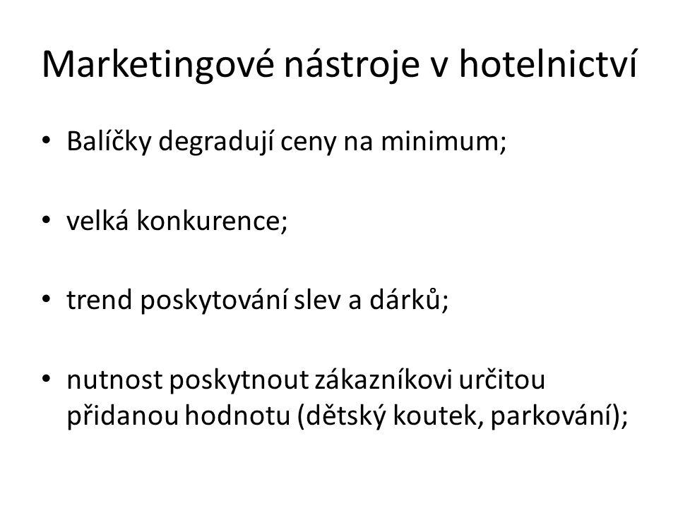 Marketingové nástroje v hotelnictví Balíčky degradují ceny na minimum; velká konkurence; trend poskytování slev a dárků; nutnost poskytnout zákazníkovi určitou přidanou hodnotu (dětský koutek, parkování);
