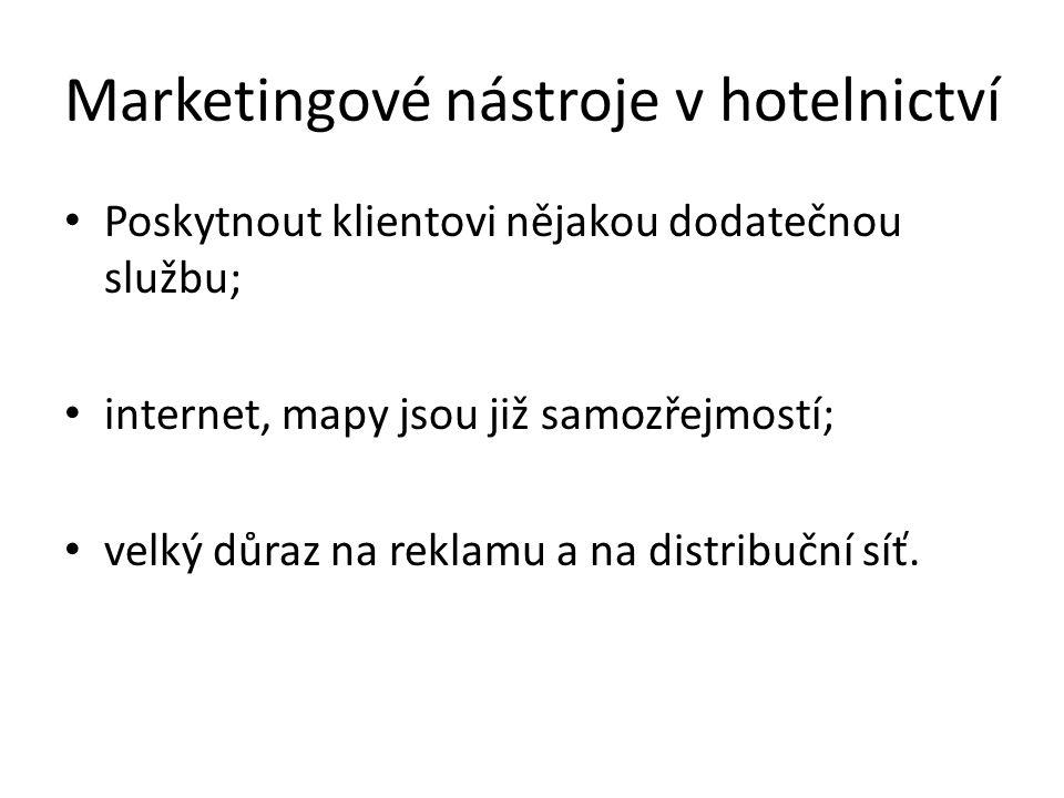 Marketingové nástroje v hotelnictví Poskytnout klientovi nějakou dodatečnou službu; internet, mapy jsou již samozřejmostí; velký důraz na reklamu a na distribuční síť.