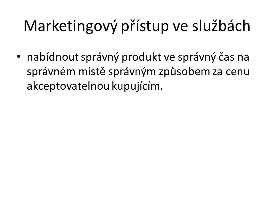 Marketingový přístup ve službách nabídnout správný produkt ve správný čas na správném místě správným způsobem za cenu akceptovatelnou kupujícím.