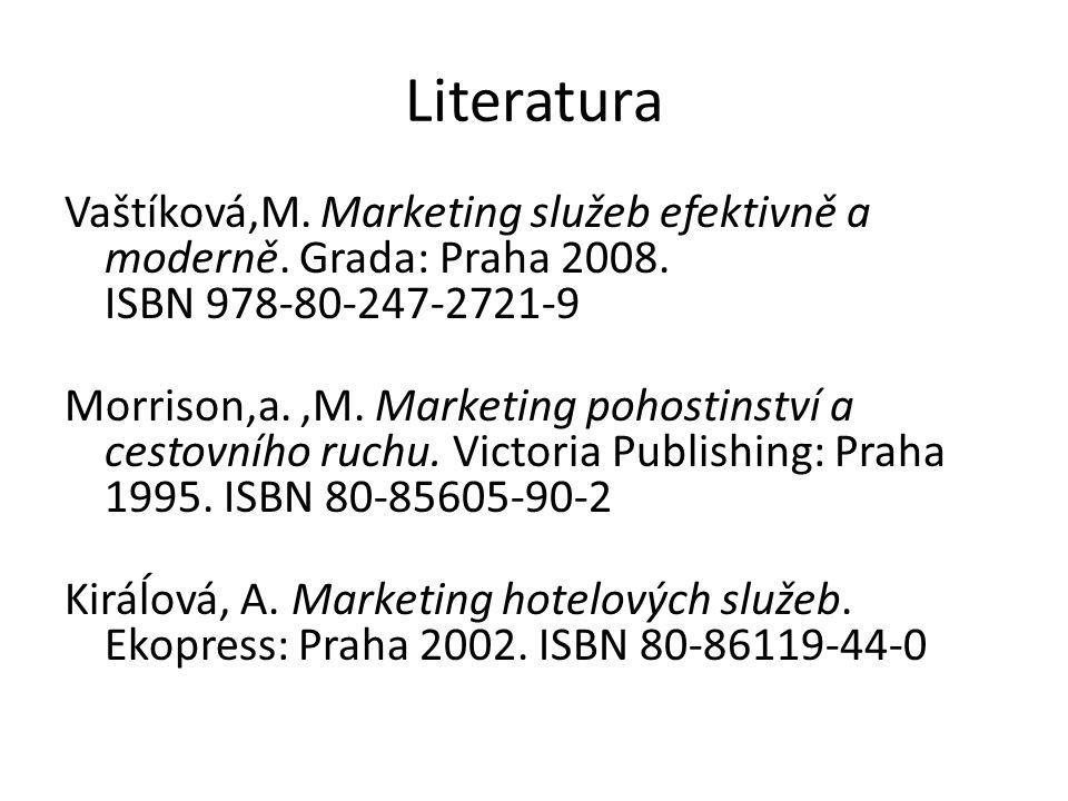 Literatura Vaštíková,M.Marketing služeb efektivně a moderně.