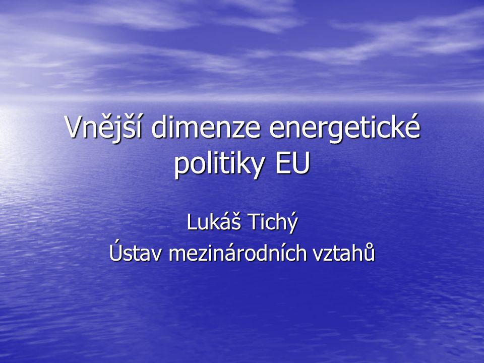 Vnější dimenze energetické politiky EU Lukáš Tichý Ústav mezinárodních vztahů