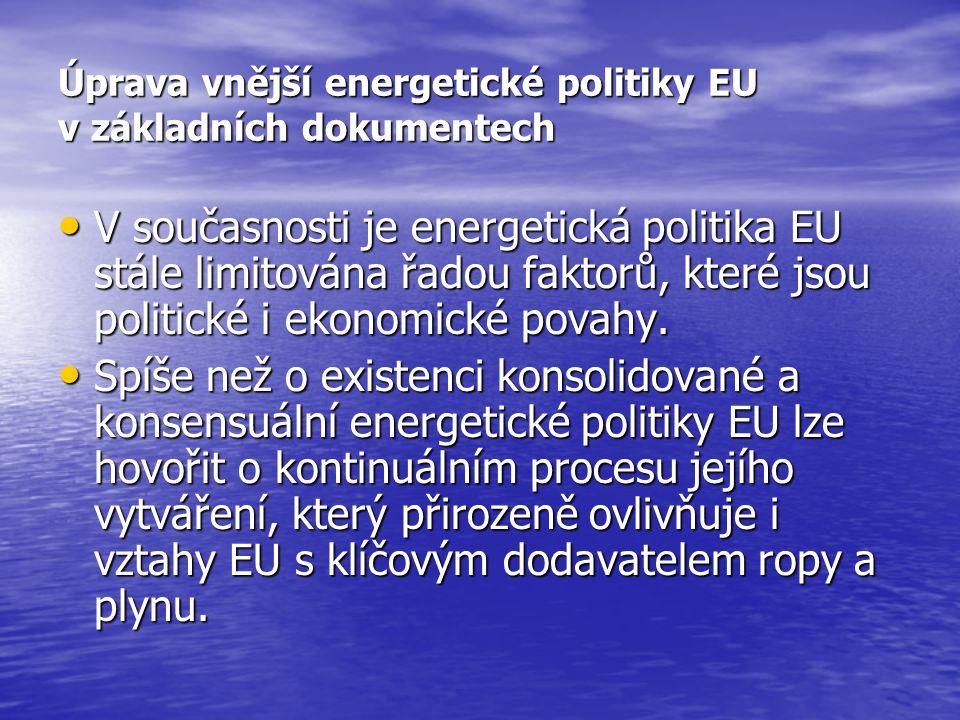 Úprava vnější energetické politiky EU v základních dokumentech V současnosti je energetická politika EU stále limitována řadou faktorů, které jsou pol