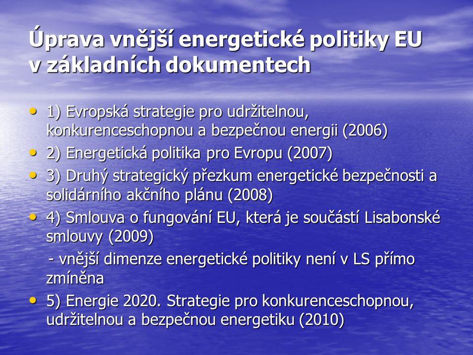 Úprava vnější energetické politiky EU v základních dokumentech 1) Evropská strategie pro udržitelnou, konkurenceschopnou a bezpečnou energii (2006) 1) Evropská strategie pro udržitelnou, konkurenceschopnou a bezpečnou energii (2006) 2) Energetická politika pro Evropu (2007) 2) Energetická politika pro Evropu (2007) 3) Druhý strategický přezkum energetické bezpečnosti a solidárního akčního plánu (2008) 3) Druhý strategický přezkum energetické bezpečnosti a solidárního akčního plánu (2008) 4) Smlouva o fungování EU, která je součástí Lisabonské smlouvy (2009) 4) Smlouva o fungování EU, která je součástí Lisabonské smlouvy (2009) - vnější dimenze energetické politiky není v LS přímo zmíněna - vnější dimenze energetické politiky není v LS přímo zmíněna 5) Energie 2020.