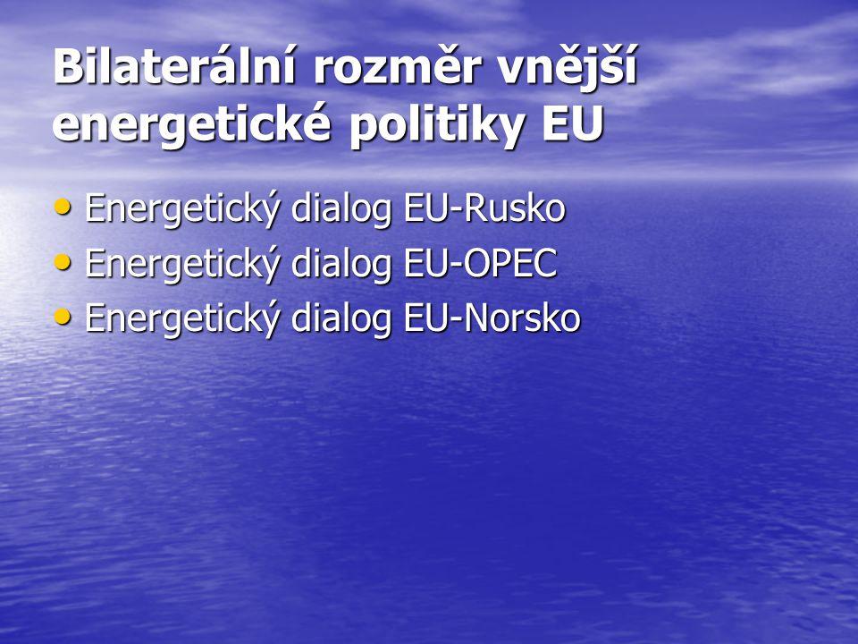 Bilaterální rozměr vnější energetické politiky EU Energetický dialog EU-Rusko Energetický dialog EU-Rusko Energetický dialog EU-OPEC Energetický dialo