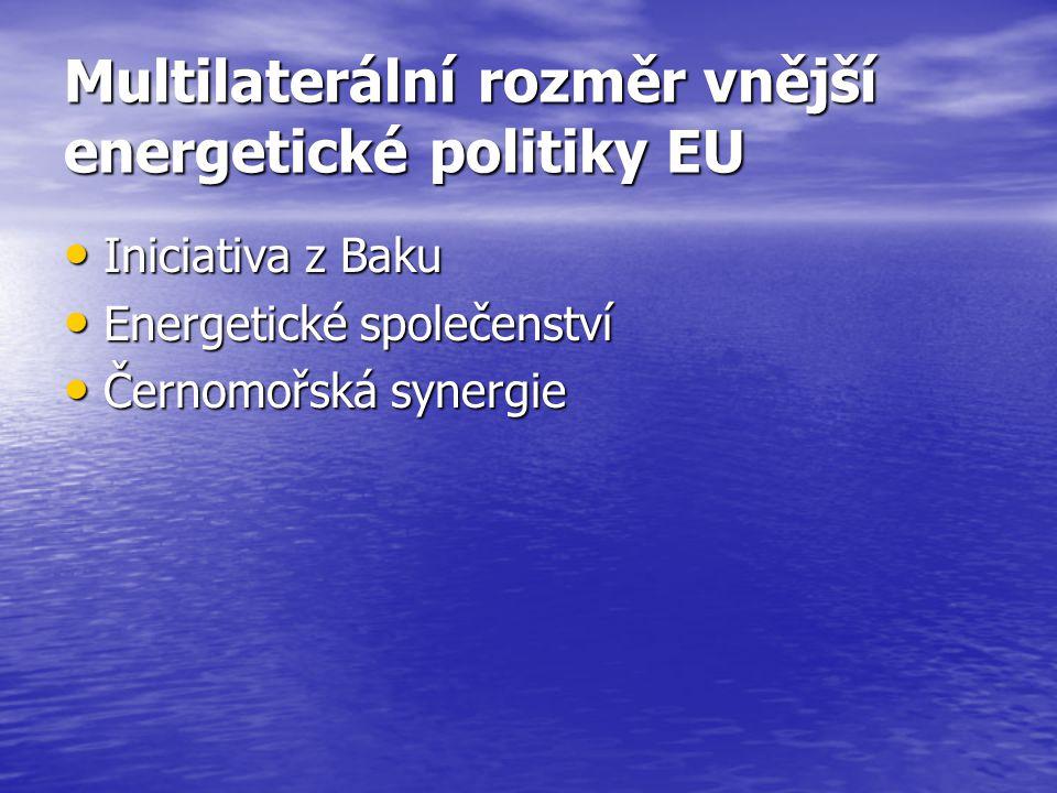 Multilaterální rozměr vnější energetické politiky EU Iniciativa z Baku Iniciativa z Baku Energetické společenství Energetické společenství Černomořská synergie Černomořská synergie