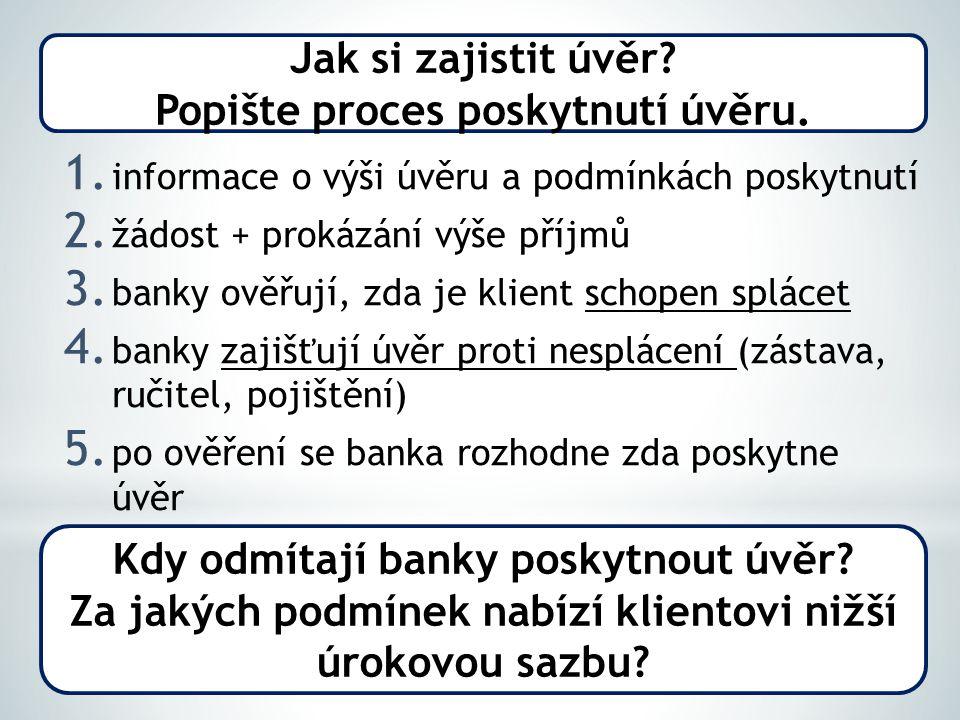 1. informace o výši úvěru a podmínkách poskytnutí 2.