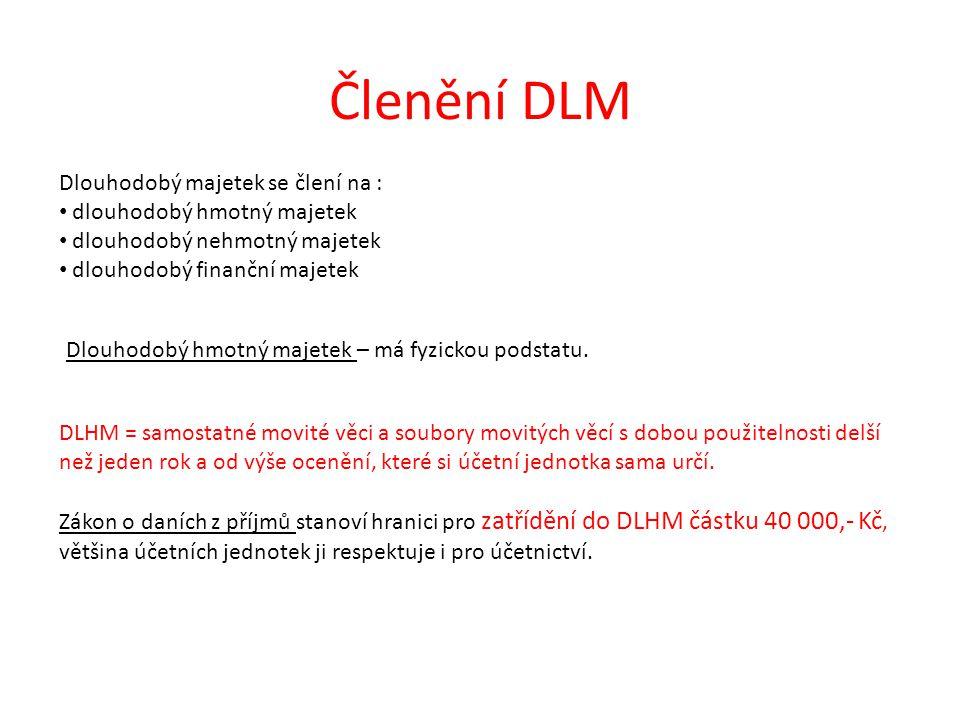Členění DLM Dlouhodobý majetek se člení na : dlouhodobý hmotný majetek dlouhodobý nehmotný majetek dlouhodobý finanční majetek DLHM = samostatné movit