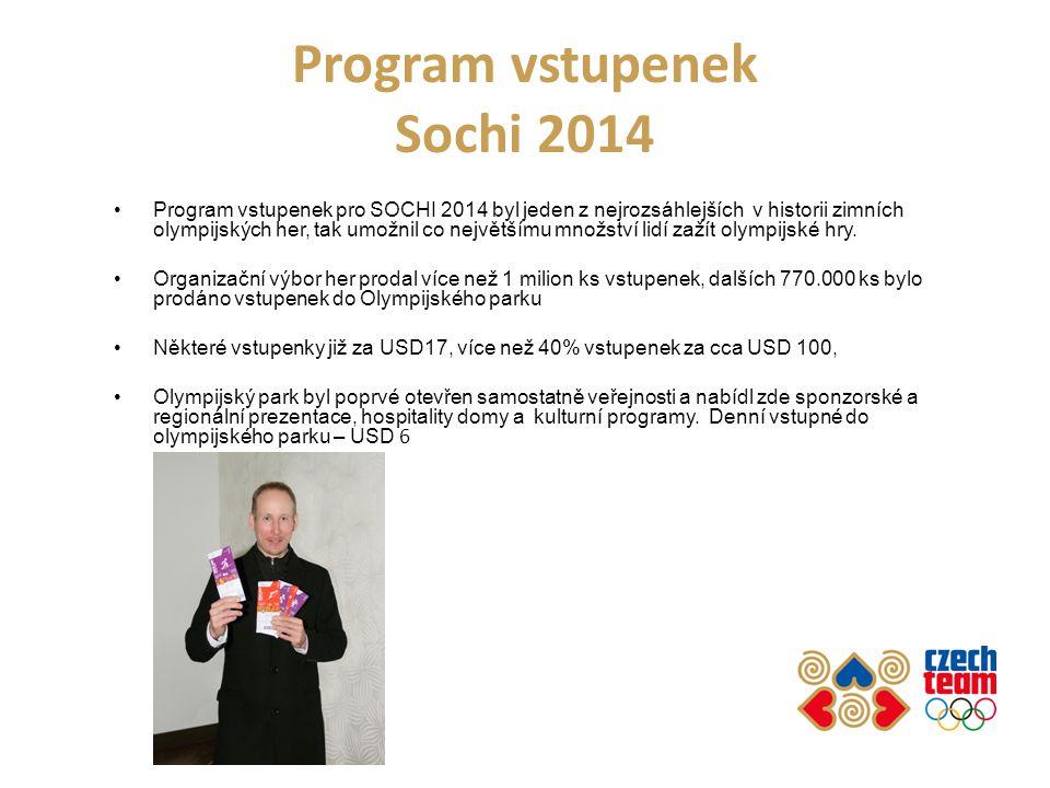 Program vstupenek Sochi 2014 Program vstupenek pro SOCHI 2014 byl jeden z nejrozsáhlejších v historii zimních olympijských her, tak umožnil co největš