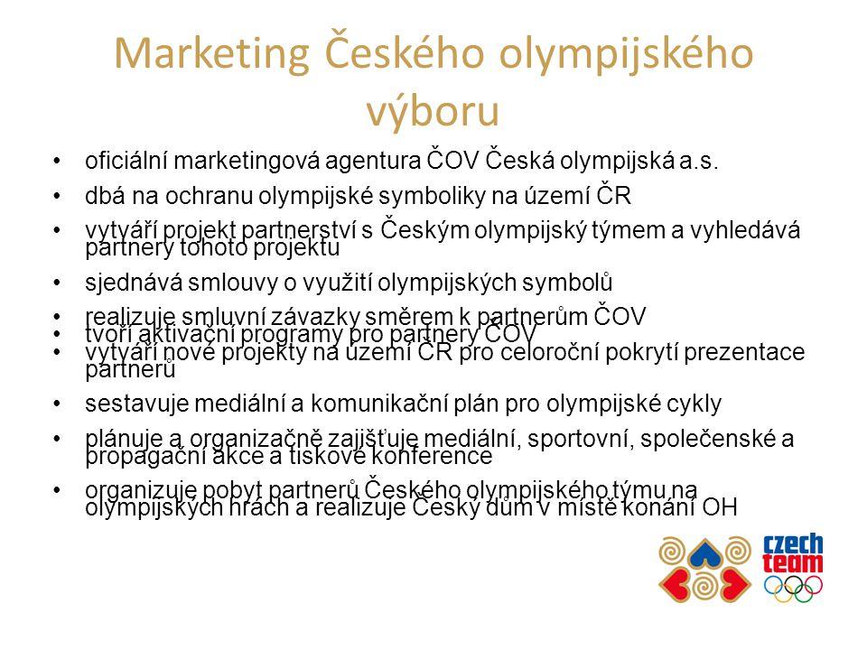 Marketing Českého olympijského výboru oficiální marketingová agentura ČOV Česká olympijská a.s. dbá na ochranu olympijské symboliky na území ČR vytvář