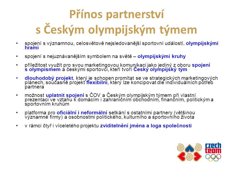Přínos partnerství s Českým olympijským týmem spojení s významnou, celosvětově nejsledovanější sportovní událostí, olympijskými hrami spojení s nejuznávanějším symbolem na světě – olympijskými kruhy příležitost využít pro svou marketingovou komunikaci jako jediný z oboru spojení s olympismem a českými sportovci, kteří tvoří Český olympijský tým dlouhodobý projekt, který je schopen promítat se ve strategických marketingových plánech, současně projekt flexibilní, který lze koncipovat dle individuálních potřeb partnera možnost uplatnit spojení s ČOV a Českým olympijským týmem při vlastní prezentaci ve vztahu k domácím i zahraničním obchodním, finančním, politickým a sportovním kruhům platforma pro oficiální i neformální setkání s ostatními partnery (většinou významné firmy) a osobnostmi politického, kulturního a sportovního života v rámci čtyř i víceletého projektu zviditelnění jména a loga společnosti