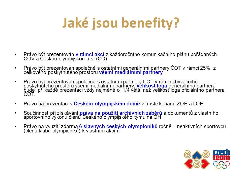 Jaké jsou benefity? Právo být prezentován v rámci akcí z každoročního komunikačního plánu pořádaných ČOV a Českou olympijskou a.s. (ČO) Právo být prez