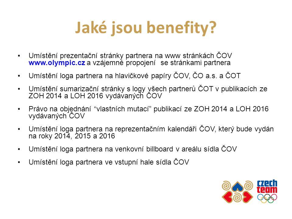 Jaké jsou benefity? Umístění prezentační stránky partnera na www stránkách ČOV www.olympic.cz a vzájemné propojení se stránkami partnera Umístění loga