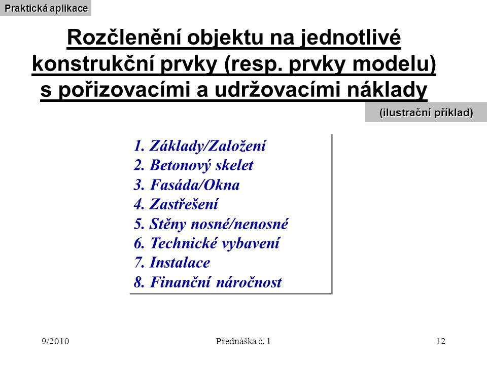 9/2010Přednáška č. 112 Rozčlenění objektu na jednotlivé konstrukční prvky (resp. prvky modelu) s pořizovacími a udržovacími náklady 1. Základy/Založen