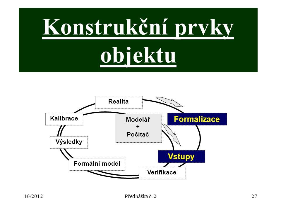 10/2012Přednáška č. 227 Konstrukční prvky objektu Modelář + Počítač Realita Formalizace Verifikace Formální model Výsledky Kalibrace Vstupy