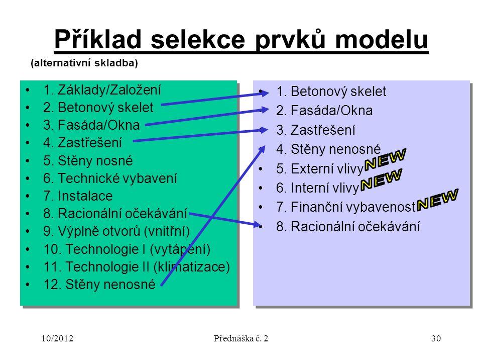 10/2012Přednáška č. 230 Příklad selekce prvků modelu 1. Základy/Založení 2. Betonový skelet 3. Fasáda/Okna 4. Zastřešení 5. Stěny nosné 6. Technické v