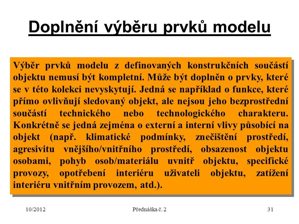 10/2012Přednáška č. 231 Doplnění výběru prvků modelu Výběr prvků modelu z definovaných konstrukčních součástí objektu nemusí být kompletní. Může být d