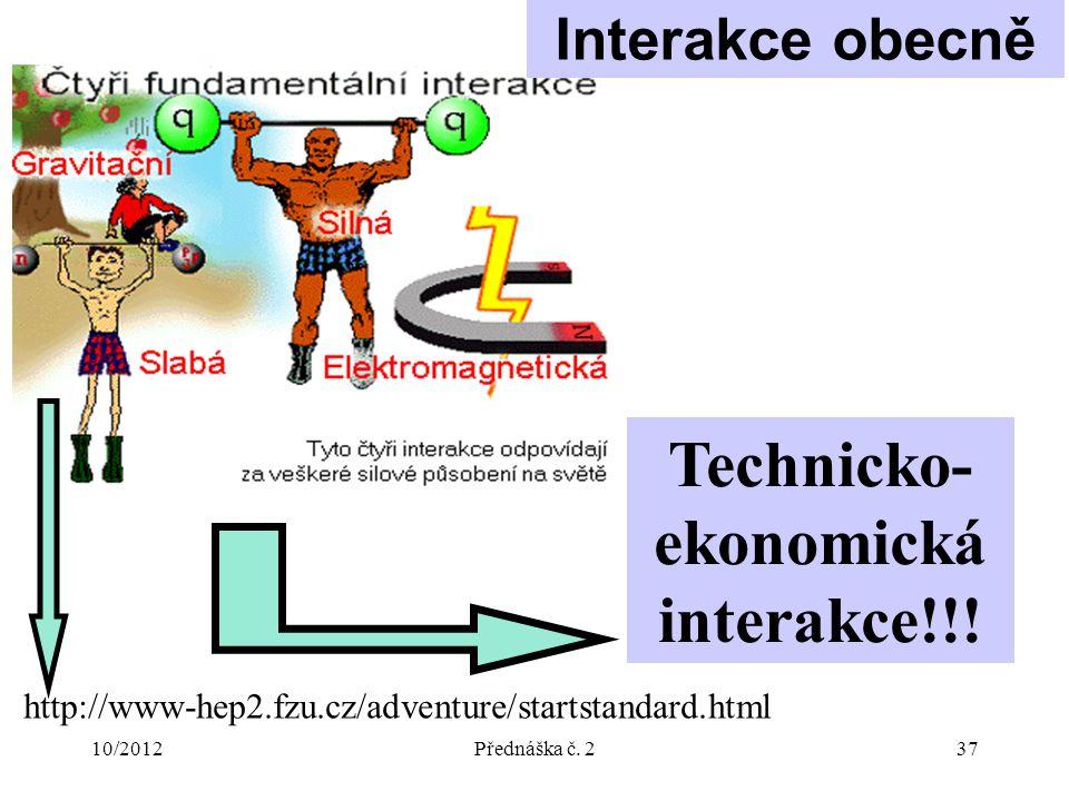 10/2012Přednáška č. 237 http://www-hep2.fzu.cz/adventure/startstandard.html Technicko- ekonomická interakce!!! Interakce obecně