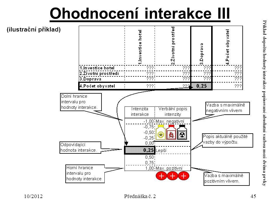 10/2012Přednáška č. 245 (ilustrační příklad) Příklad dopočtu hodnoty interakce popisované absolutní vazbou mezi dvěma prvky Ohodnocení interakce III +