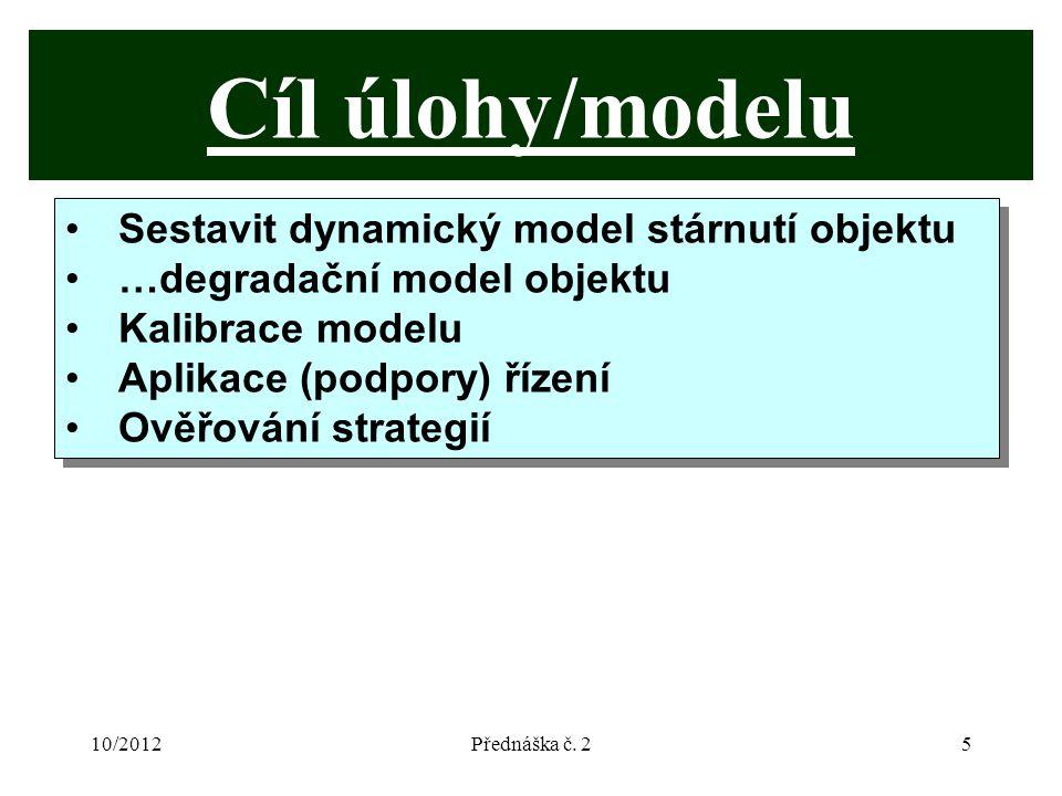 10/2012Přednáška č. 25 Cíl úlohy/modelu Sestavit dynamický model stárnutí objektu …degradační model objektu Kalibrace modelu Aplikace (podpory) řízení