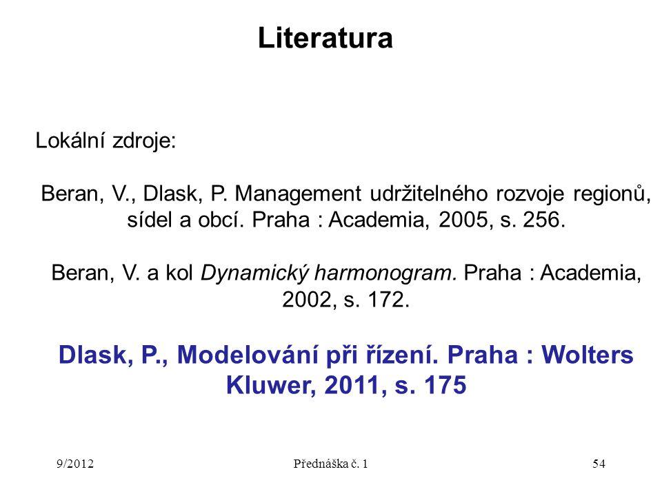 Literatura 9/2012Přednáška č. 154 Lokální zdroje: Beran, V., Dlask, P. Management udržitelného rozvoje regionů, sídel a obcí. Praha : Academia, 2005,