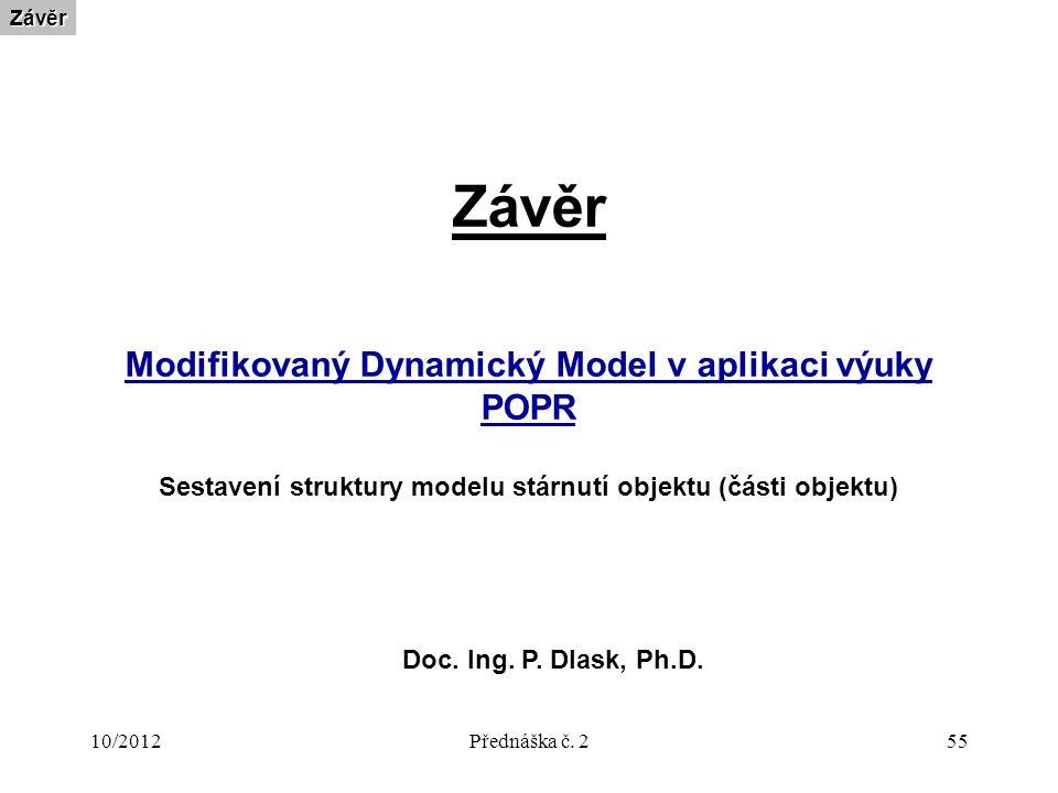 10/2012Přednáška č. 255 ZávěrZávěr Modifikovaný Dynamický Model v aplikaci výuky POPR Sestavení struktury modelu stárnutí objektu (části objektu) Doc.