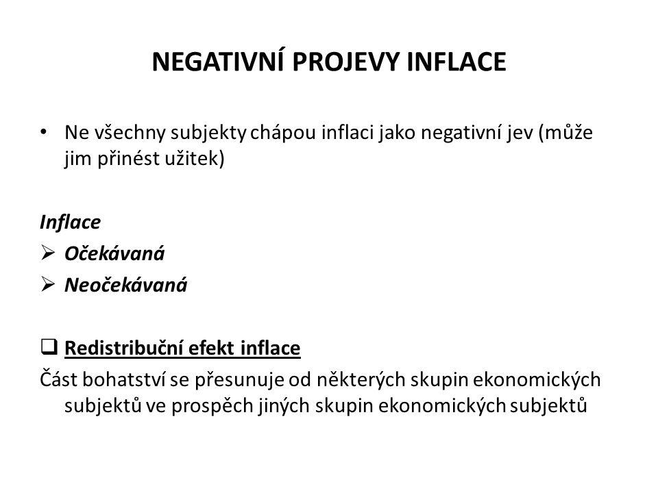 NEGATIVNÍ PROJEVY INFLACE Ne všechny subjekty chápou inflaci jako negativní jev (může jim přinést užitek) Inflace  Očekávaná  Neočekávaná  Redistri