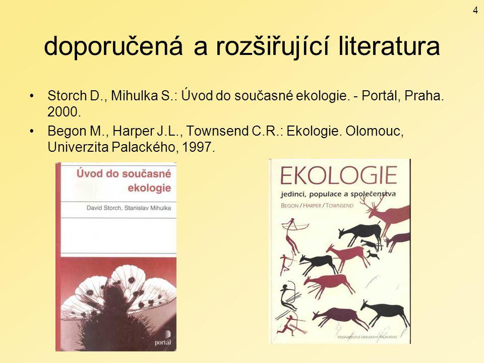 doporučená a rozšiřující literatura Storch D., Mihulka S.: Úvod do současné ekologie. - Portál, Praha. 2000. Begon M., Harper J.L., Townsend C.R.: Eko