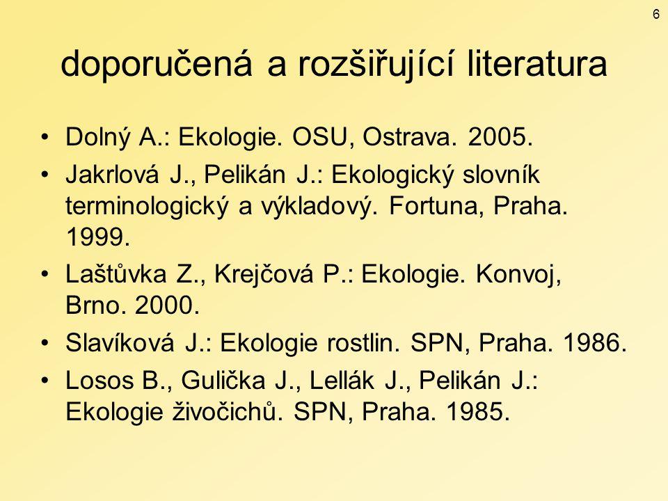 doporučená a rozšiřující literatura Dolný A.: Ekologie. OSU, Ostrava. 2005. Jakrlová J., Pelikán J.: Ekologický slovník terminologický a výkladový. Fo