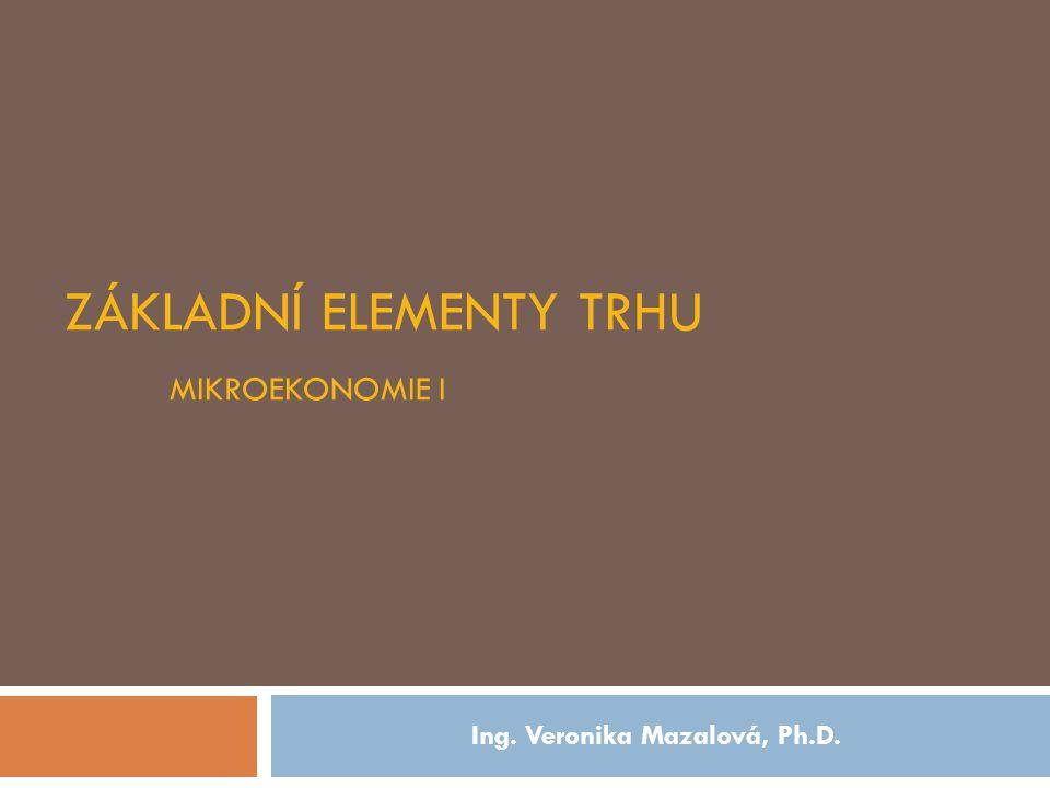 ZÁKLADNÍ ELEMENTY TRHU MIKROEKONOMIE I Ing. Veronika Mazalová, Ph.D.